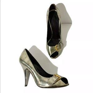 Giuseppe Zanotti Silver Gold Buckle Heels Size 36